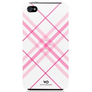 Carcasa White Diamonds Swarovski Grid Roz iPhone 4/4S