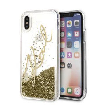 Carcasa Original faceplate KARL LAGERFELD KLHCPXSGGO iPhone X/Xs Liquid auriu